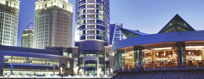 Hilton Doha Hotel, Qatar - Night Exterior Sea View