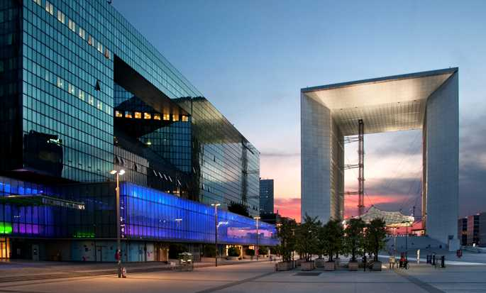 Hilton Paris La Defense hotel, France - Exterior at night