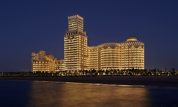 Waldorf Astoria Ras Al Khaimah hotel, UAE - Hotel by night