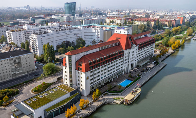 Hilton Vienna Danube Waterfront hotel, Austria - Aerial view